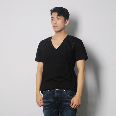 무지 깊은 브이넥 반팔티셔츠 / 흰색 검정색 회색